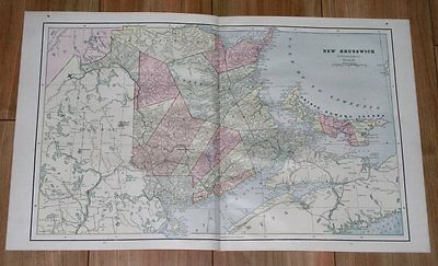 1890 Antique Map Of New Brunswick Madawaska Northumberland Kent York Canada