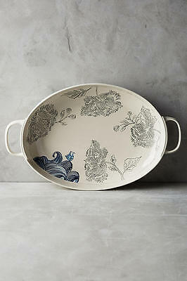 *HTF* Anthropologie Linda Fahey Pacifica Stormy Seas Serving Platter nautical