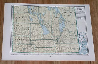 1939 Original Vintage Map Of Southern Manitoba / Canada
