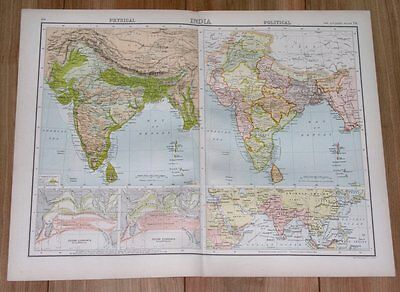 1900 Antique Map Of British India / Political / Physical / Pakistan