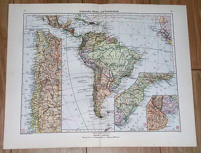 1943 Original Vintage Wwii Map Of South America Brazil Argentina Chile