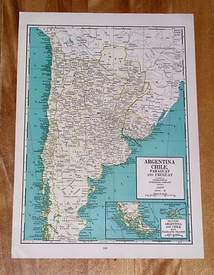 1941 Antique Wwii Map Of Argentina Chile / Brazil / South America