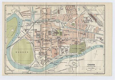 1924 Original Vintage City Map Of Chester / Cheshire / England