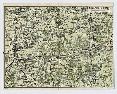1924 Original Vintage Map Of Vicinity Of Guildford And Dorking Surrey / England