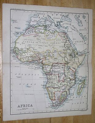 1888 Map Of Africa / Boer Republics Transvaal Orange Free State Colonies