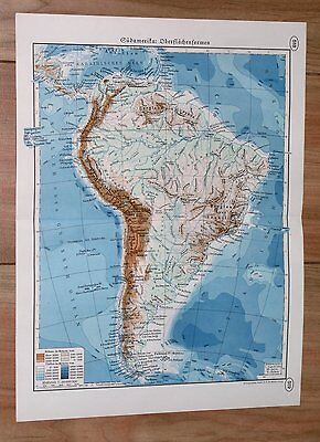 1938 Original Vintage Physical Map Of South America Andes / Amazon Argentina