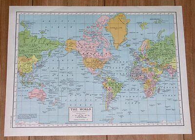 1950 Vintage Post-Wwii Map Of The World Aftermath Of War America Europe