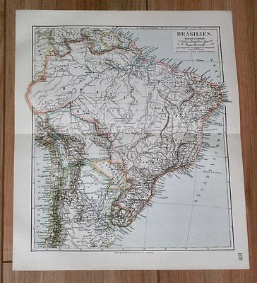 1905 Map Of Brazil / South America Argentina