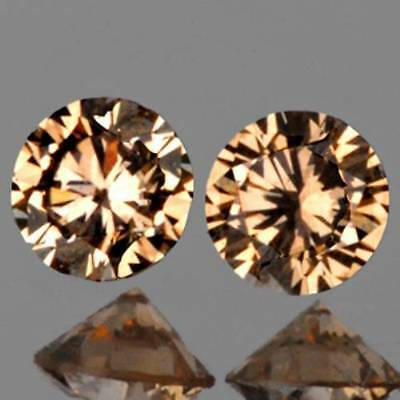 1.6mm WELL-MATCHED Round Champagne DIAMOND Pair VVS NATURAL LOOSE GEMS (531)