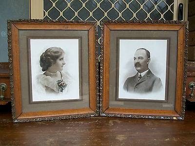 Pair of Victorian Photos in Antique Frames .