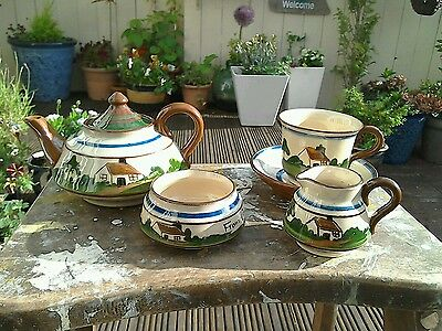 Vintage Torquay Longpark Motto Ware Tea Set For One
