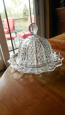 """EAPG - George Duncan & Sons #44 """"Button Panel"""" crystal butter dish"""