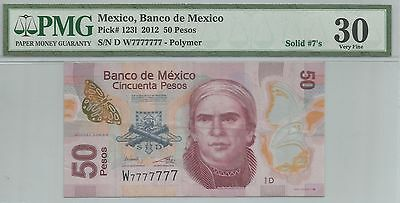 [solid 7777777] Mexico 2012 50 pesos p123l polymer fancy serial number PMG