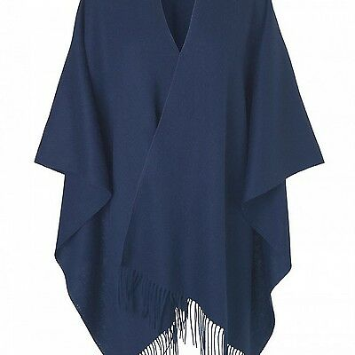 Becksondergaard Womens Navy Solid Cape - One Size RRP £99 now only £25!