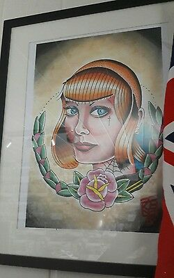 skinheadgirl original tattoo artist print oi ska spirit of 69
