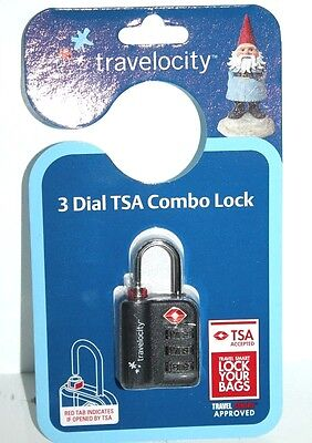 Travelocity Travel Sentry Approved 3 Dial Combination Lock Accepted By Tsa Black
