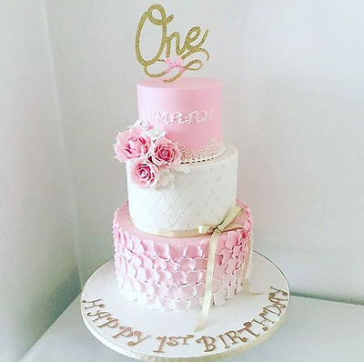 One Pink Glitter Cake Topper - first birthday party
