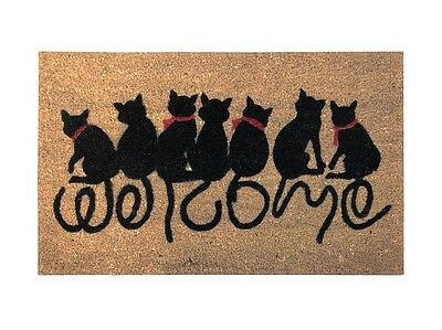 OUTDOOR FRONT DOOR MAT DOORMAT RUG CATS WELCOME COCONUT FIBRE 40cm x 60cm