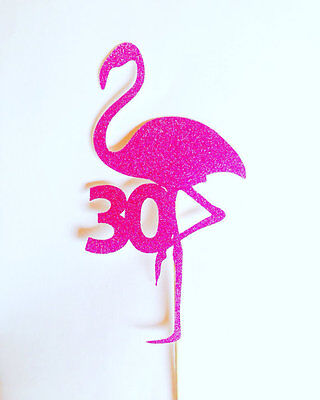Pink flamingo 30th thirty glitter cake topper, party, Cake Topper