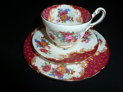Paragon China - Rockingham Pattern - Red - Coffe Cup,saucer & Plate