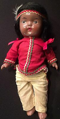 """Vintage Reliable Canadian Indian Doll Canada 11"""" composition antique"""