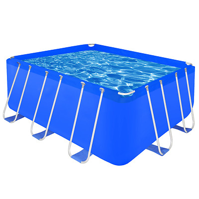 Rectangle Swimming Pool Outdoor Garden Above Ground Drain Plug Steel Frame 400cm