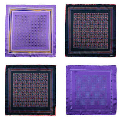 BRIONI Pink Purple Hand-Rolled 100% Silk Pocket Square Handkerchief Lot of 4