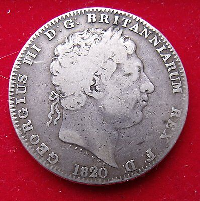 1820 Crown five shillings 5/- King George III .925 Silver Coin Fine example
