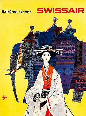 Extreme Orient Japan India Swissair Vintage Airline Travel Advertisement Poster