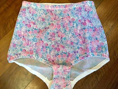 Women's New Vintage Floral Nylon Knickers Pantee Girdle Sissy Lingerie