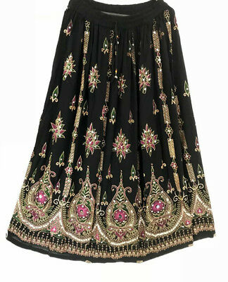 Ladies Indian Boho Hippie Gypsy Long Sequin Skirt Rayon Belly Dance BLACK PINK