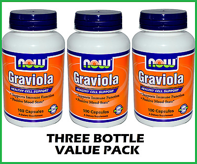 THREE BOTTLES: Graviola 500mg 300 Capsules by NOW Foods - Soursop, Cell Support