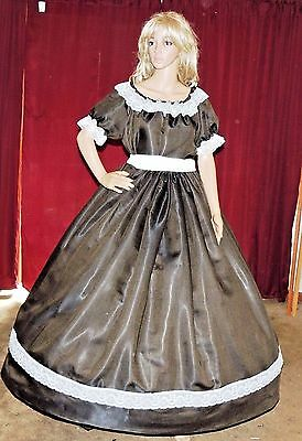 CIVIL WAR VICTORIAN PIONEER DICKENS Olive Green Antique Satin Costume Dress Gown