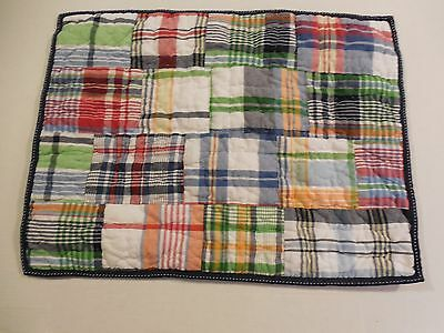 Pottery Barn Kids Plaid Madras Pillow Sham Standard NWOT Mono Removed