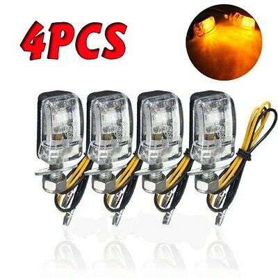 4pcs Stalk Black Motorcycle Mini 6LED Amber Turn Signal Lights Blinker Indicator