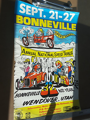 Bonneville Vintage Original Salt Flats Poster   14 by 22 inches FREE SHIPPING!