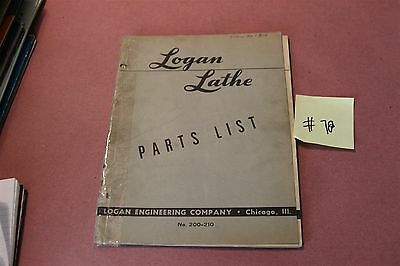 Logan 200 210  Original Parts List  Lot # 78
