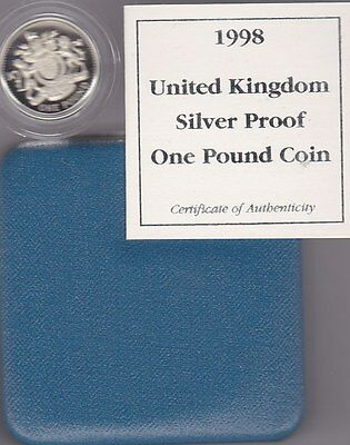 1998 Boxed Standard Proof £1 Royal Arms