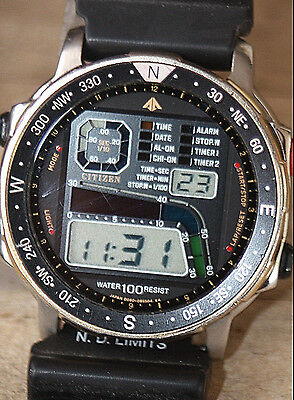 vintage 1980s CITIZEN WINDSURFING CHRONOGRAPH WATCH REF#D060 FREE SHIPPING IN US