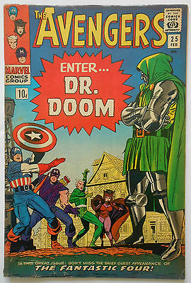 Avengers #25 - Feb 1966 - Dr Doom & Fantastic Four - High Grade - Fn/vfn (7.0)