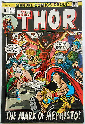 Thor #205 - Nov 1972 - Mephisto Appearance! - Fn (6.0) Pence Copy!