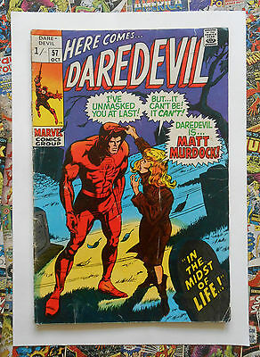 Daredevil #57 - Oct 1969 - Deaths Head Appearance! - Vg (4.0) Pence Copy!!