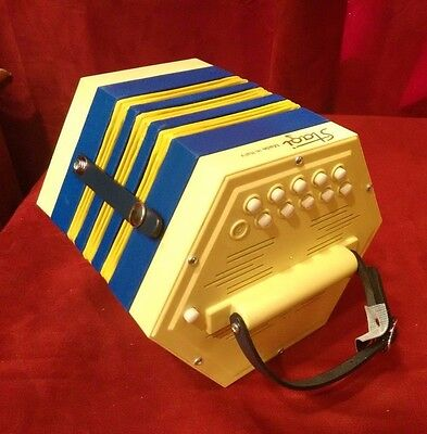 New Stagi La Concertina Anglo PL 4-2 Yellow Blue C G M 20 Button Made In Italy