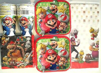 SUPER MARIO BROTHERS Amscam Birthday Party Supply Kit Pack for 16