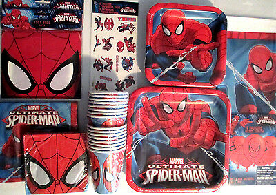 ULTIMATE SPIDER MAN Birthday Party Supply SUPER KIT w/Balloons & More !