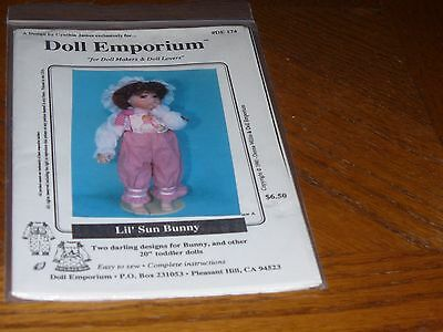 "Doll Pattern - Doll Emporium  - De174 - Lil' Sun Bunny - Fits 20"" Toddler"