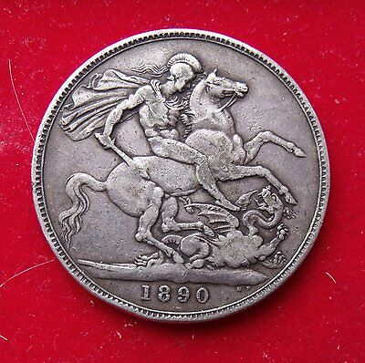 1890 Crown five shillings 5/- Queen Victoria Jubilee .925 Silve British Coin