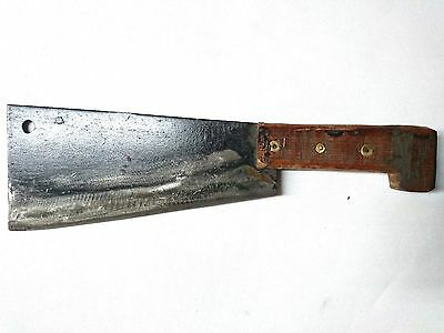 VINTAGE HIGH CARBON  STEEL CLEAVER, CHEF'S KNIFE(9'' blade) Handmade