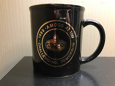 AMOCO bp coffee mug 100th 1989 Challenging Tomorrow Black Gold