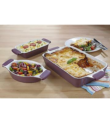 Large Family Lasagne Dish & 2 Oven To Table ware Roasting Baking Serving Set